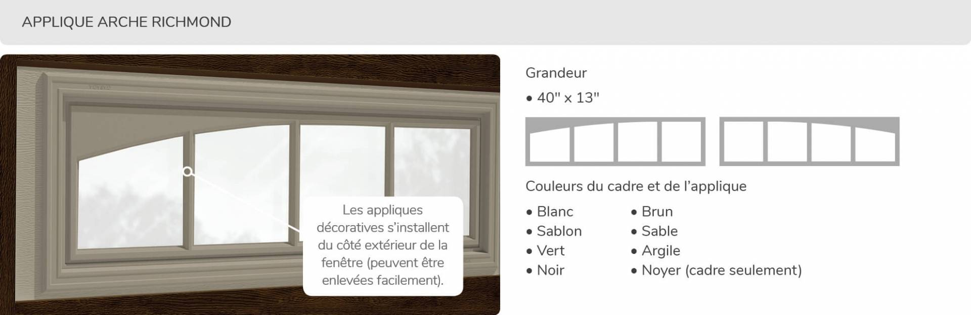Applique Arche Richmond, 40' x 13', disponible pour la porte R16
